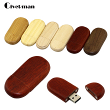 6 Wooden ellipse USB 2.0 64GB 32GB 16GB 8GB 4GB Pen Drive High Speed Flash Memory Stick USB Flash Drive 64GB U Disk print LOGO(China)