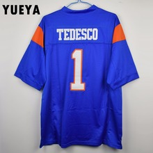 "YUEYA ""Blue Mountain State"" Movie Jerseys #1 Harmon Tedesco American Football Jersey Mens Cheap Blue S-3XL"