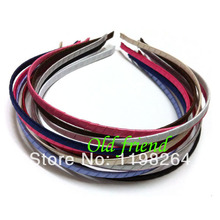 5mm Satin Ribbon Wrapped Metal headbands, Fashion Satin Covered Metal headbands 60/lot 11 color free shipping(China)