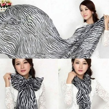 1 pcs Fashion Modern Trendy Long Sexy Zebra Printed Chiffon Scarf Women Girls Shawl Soft Smooth Hot Sale(China)