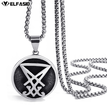Mens Stainless Steel Chain Sigil of Lucifer Seal of Satan Pendant Box Chain Necklace Set 20inch-26inch