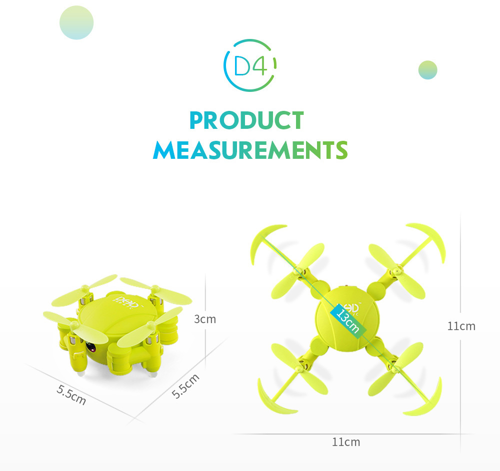 New JJRC DHD D4 Mini Pocket Foldable Drone Quadcopter 4CH 6-Axis Gyro WIFI RC FPV 720P Camera Altitude Mode