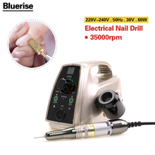 Bluerise60W Powerful Electric Professional Nail Drill EU Plug Art Pen Polish Drill Equipment Pedicure File Polish Tool Feet Care