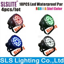 SLS light 4pcs/lot outdoor led par 64 18pcs 5in1 Waterproof Led Par/ RGBWA LED Par Light IP65 DMX512 led stage par light