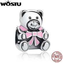 100% 925 Sterling Silver Girl Teddy Bear Charm  Fit Original wst Bracelet Necklace Authentic Jewelry Gift