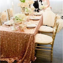 "Rose Gold Sequin Tablecloth Wedding Cake Tablecloth Rectangle Sequins Party Table Linen Wedding Sequin Table Decoration 50""X80"""