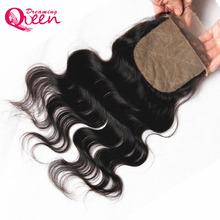 Dreaming Queen Hair Body Wave Brazilian Remy Hair Silk Base Closure With Baby Hair Hidden Knots 100% Human Hair Free Shipping
