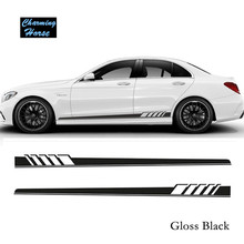 Gloss Black Auto Side Skirt Car Sticker AMG Edition 507 Racing Stripe Side Body Garland for Mercedes Benz C Class W204 W205
