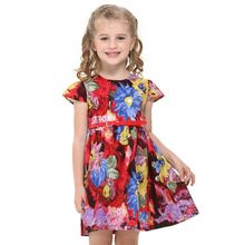 Nova brand kids wear retail baby girl dress summer short sleeve  floral printed girl dress with red sashes newest design