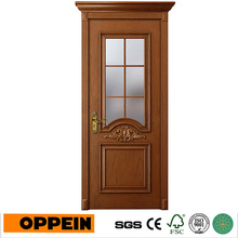 Oppein Hot Sale Brown Euroupean Style Wood Veneer Interior Door with Glasses (YDE002D)(China)
