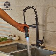 Deck Mounted LED Light Two Spout Pull Down Spring Kitchen Faucet Single Handle Hot and Cold Water Mixer Taps