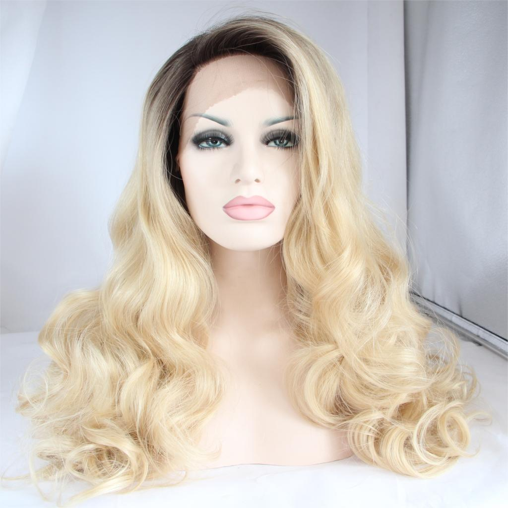 Ombre Blonde Synthetic Lace Front Wig Body Wave Heat Resistant Hair Wigs Cheap Wigs For Black Women<br><br>Aliexpress