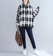 Top quality New Autumn Winter Long sleeve Vintage Tan Wavy Plaid shirt dress sp1086