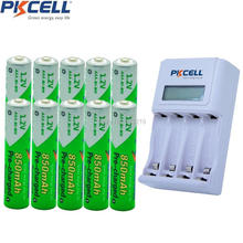 10Pcs PKCELL Pre-charged AAA Rechargeable Battery 4slot EU/US LCD Charging Indicator Charger For 1to4pcs AA/AAA NICD/NIMH Batter