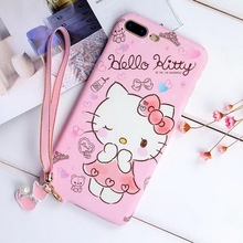 Cute Cartoon Hello Kitty Phone Case for iPhone 7 7Plus 6 6S Plus Love Heart Strap Grip Pink Hard Back Cover Case for Girl Kids