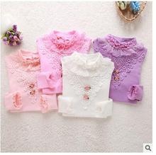 Cute Lace shirts for children 2016 Spring 100% pure cotton children's long sleeve Shirt baby girls clothes  4 color