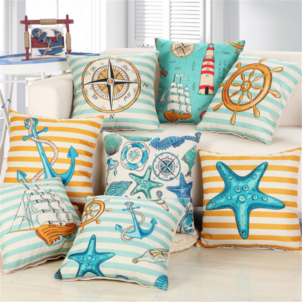 Cotton Pillow case Linen Cushion Cover Navy Ocean decor with sailing boat anchor compass rudder sea star TX126 45cm 18inch(China (Mainland))