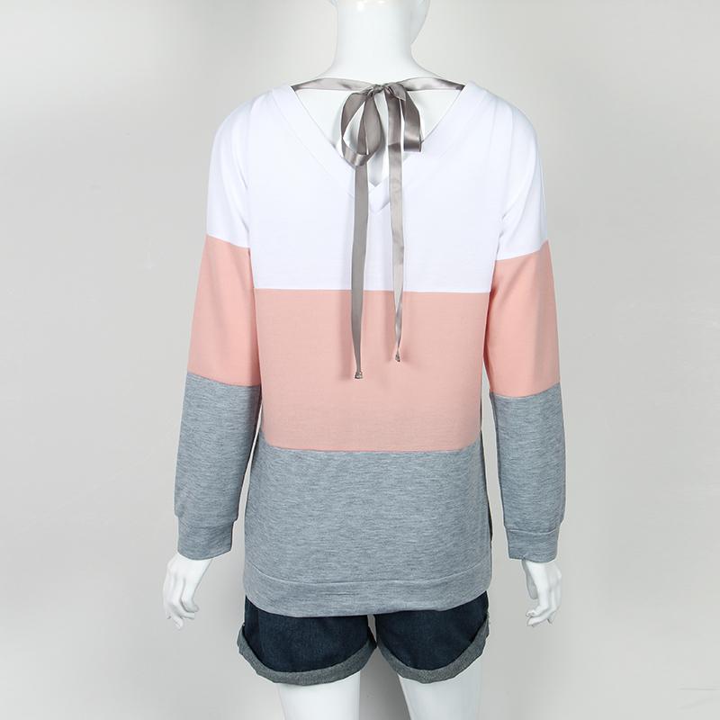 Sweatshirt, Women's Sweatshirt Patchwork Pullover 11