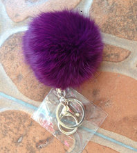 8CM Cute violet mint green pink Genuine Leather Rabbit fur ball plush key chain  car key ring Bag Pendant car keychain