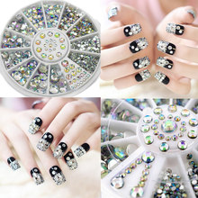 1pcs Japanese wheel nail art colorful AB acrylic rhinestone mix sizes round flatback crystals clear AB stones nail art supplies