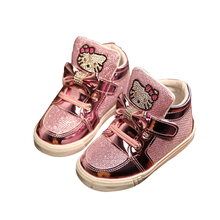 2016 Spring Autumn Girls Shoes Sequin Rhinestone Hello Kitty Sneakers Kids Shoes For Girl Pink Color Bow Knot Baby Shoes