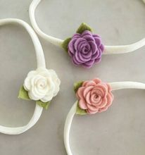 2016 New Felt Flower With Leaves Headbands Baby elastic headband newborn hair accessories child rose flower hairbands