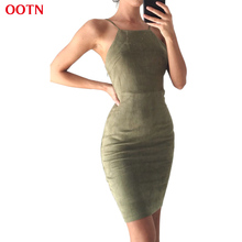 OOTN Women Summer Dress Tunic Slip Dresses Female Bandage Dress Autumn Suede Sundress Green Red Robes Office Sexy Lace up School(China)