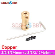 Cooper Drive Shaft Connector Motor Shaft Collect 2/2.3/3/4mm to 2/3/3.17/ 4/ 5mm with Screws for RC Electric Boat, Car and Robot(China)