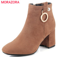 MORAZORA Big size 34-42 womens boots in spring autumn elegant fashion shoes woman ankle boots high heels shoes flock zip(China)