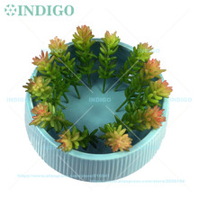 INDIGO- Wholesale 500pcs Mini Wheat Sprays Artificial Succulent Plant Plastic Green Flower Table Decoration Free Shipping(China)