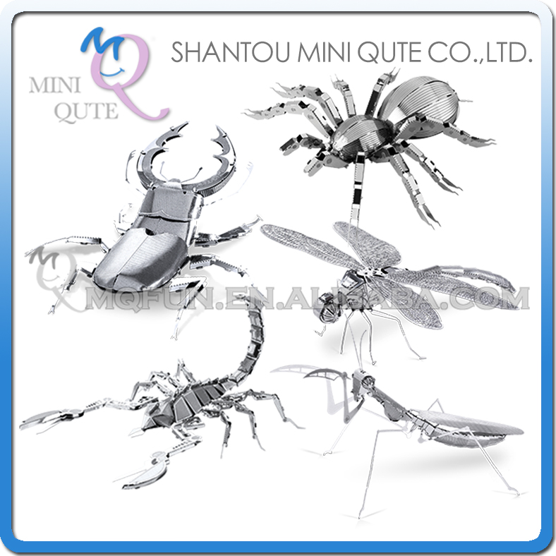 5 MODELS SELECTABLE 3D animal insect Mantis Scorpion Stag Beetle Tarantula Dragonfly Metal Puzzle adult models educational toy(China (Mainland))