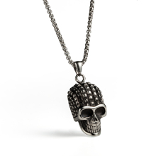Gothic top punk skeleton skull head pendant women men's necklace choker stainless steel charm jewelry(China)