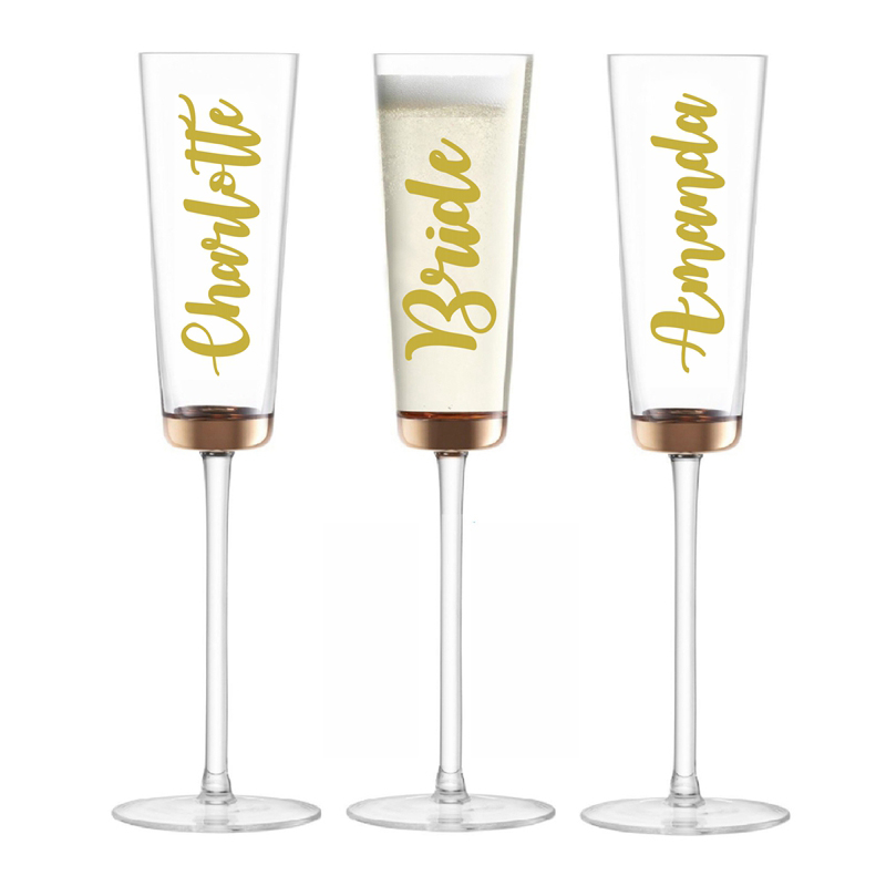 Personalized Stemless 6oz Champagne Flutes Wine Cup 9 Colors Custom Name Tumbler Wedding Bridesmaid Gifts