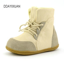Brand Real Goat Fur Baby Boy Winter Snow Boots Kids Boys Boots Shoes Children Geanuine Leather Australia Ankle Boots size 22-33(China)