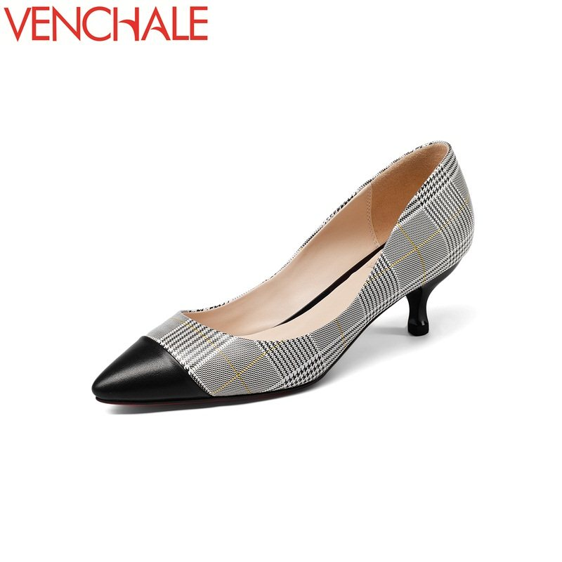 VENCHALE mixed colors engagement pointed toe woman pumps kitten heels 5cm plaid pattern zapatos mujer spring shoes large size<br>