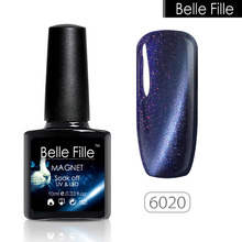 Belle Fille Cat Eye Gel Nail Polish Glitter 3D Soak Off UV Gel Polish Magnetic Varnish Magnet Blue Sapphire Manicure Varnish(China)