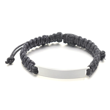 Men's Hand Braided Black Bracelet With High Polished Stainless Steel Blank ID Plaque