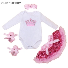 Crown Applique Baby Girl Birthday Outfits Long Sleeve Bodysuit Lace Tutu Skirt Headband Crib Shoes Newborn Vetement Bebe Fille