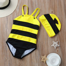 Baby Swimwear+Hat Little Bee Swimsuit Beachwear Toddler Cute Bathing Suit Summer babies' Beach Swimming Pool Cute bee swimwear