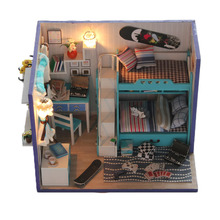 Assembling DIY Wooden Doll House Skateboard Boy Kids Educational Toy With LED Furnitures For Children best gift doll house(China)