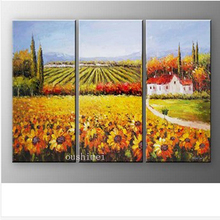 Handmade 3pcs/lot Modern Sunflower Pictures On Canvas Palette Knife Oil Painting Wall Artwork Painting Mediterranean Landscape