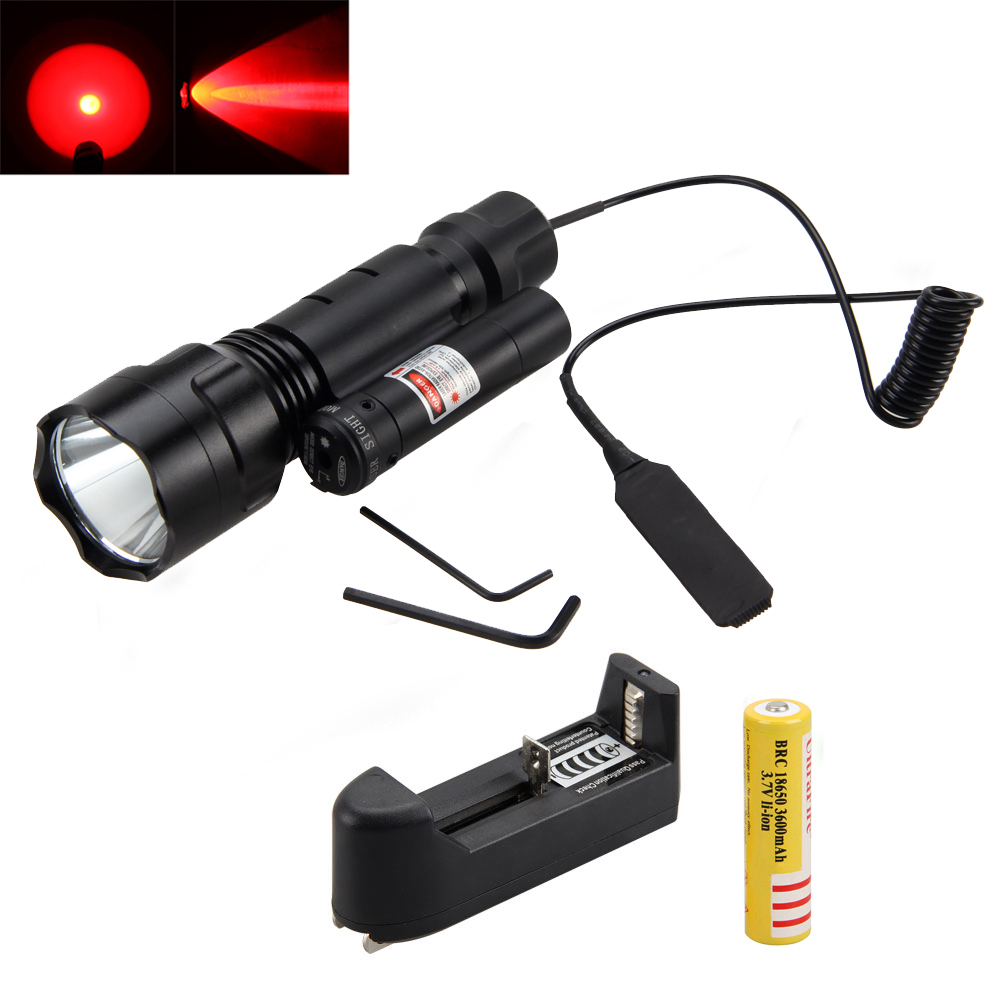 2000Lm XML Q5 Red LED Flashlight Torch Hunting Light with Press Mount Red Dot Laser Sight +18650+CH<br>