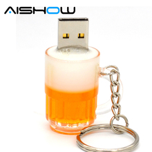 Hot sale personality beer glass usb 2.0 USB Flash Drives 8GB Memory Stick Drive U Disk pendrive Thumb/Car/Pen Gift 2GB-64GB
