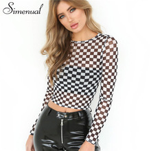 Simenual Hollow out sexy t-shirts for women black white plaid checkerboard slim corp top female t-shirt long sleeve tee shirts(China)