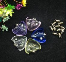 100pcs Colorful Trendy Crystal heart Shape zircon Crystal Vial necklace Pendant Screw On Cap vase Perfume essential oil Bottle