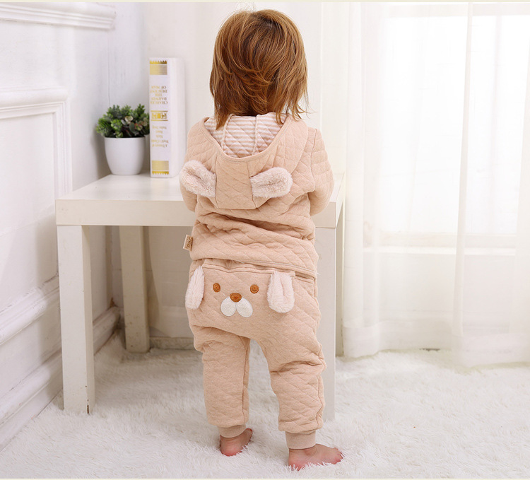 New Winter Infant Baby Clothing Set Coat Hooded + Pants Cartoon Thickening Organic Cotton Warm Newborn Clothing Set<br><br>Aliexpress