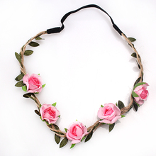 M MISM New Woman Elactic Rose Flowers Headband for Wedding Accessories Girls Beauty Leaves Knitted Hair Bands Beach Headdress