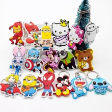 New cotton Anime Cute Minion hello kitty minne cartoon Keychain iron Man Cap Key chain super hero spiderman Pendant porte clef