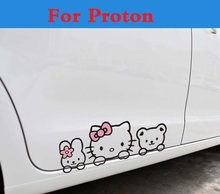 Waterproof Cute Lovely Hello Kitty Decals Car Stickers Styling for Proton Gen-2 Inspira Perdana Persona Preve Saga Satria Waja