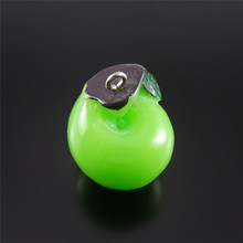 (10Pieces)Creative Resin Green Apple Necklace Pendant Cute Bag Phone Hanger Bracelet Charms 24*20mm Jewelry Handmade Crafts52094(China)